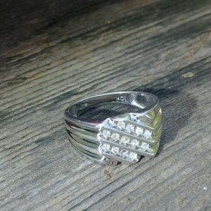 10k solid white gold diamond ring